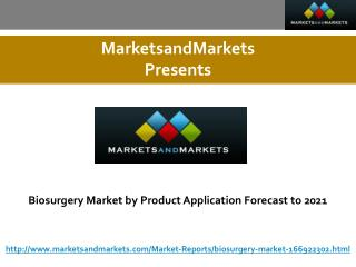 Biosurgery Market by Product, Application Forecast to 2021