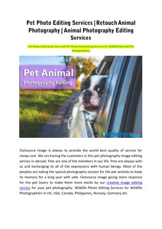 Pet Photo Editing Services | Retouch Animal Photography | Animal Photography Editing Services