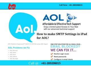 How to make SMTP Settings in iPad for AOL?