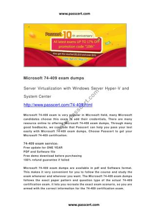 Microsoft 74-409 exam dumps