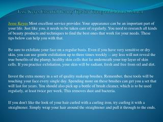 Jesse Keyes Essential Beauty Tips for Young and Mature Women