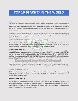 Top 10 beaches in the world | Currencykart.com