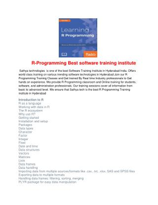 R-Programming Best software training institute
