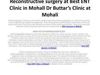 Reconstructive surgery at Best ENT Clinic in Mohall Dr Buttar's Clinic at Mohali
