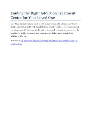 Finding the Right Addiction Treatment Center for Your Loved One