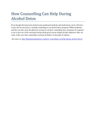 How Counselling Can Help During Alcohol Detox