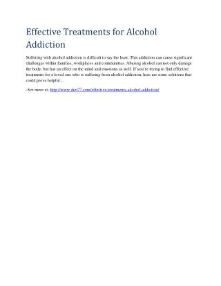 Effective Treatments for Alcohol Addiction
