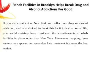 Rehab Facilities Brooklyn