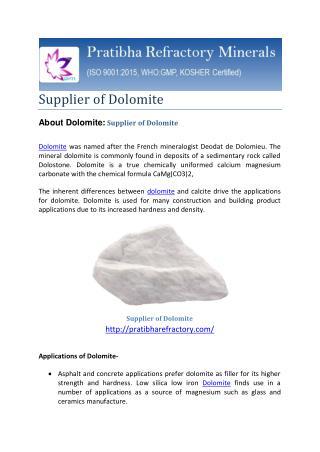 Supplier of Dolomite-best price