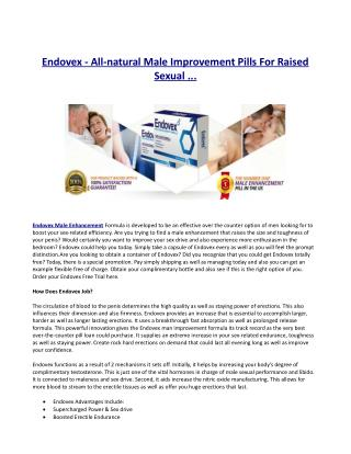 Does Endovex Male Improvement work?