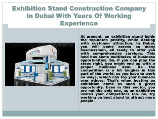 Exhibition Stand Construction Company In Dubai With Years