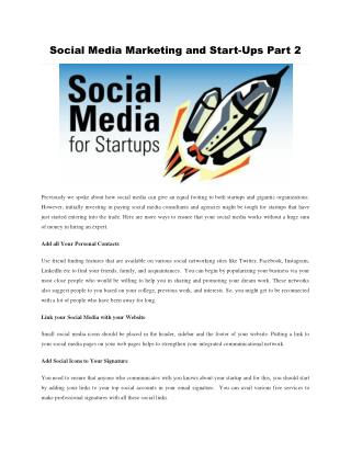 Social Media Marketing and Start-Ups  Part 2