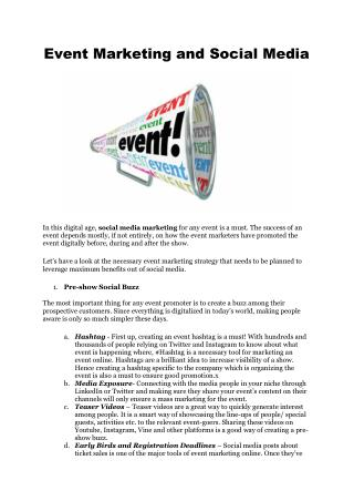 Event Marketing and Social Media