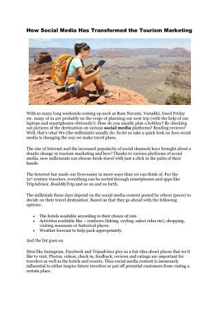 How Social Media Has Transformed the Tourism Marketing