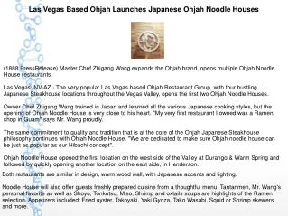 Las Vegas Based Ohjah Launches Japanese Ohjah Noodle Houses