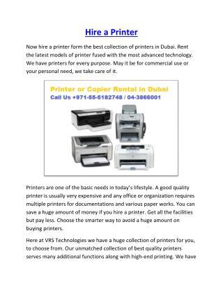 Rent a Photocopier Dubai - Printer - Copier Rent
