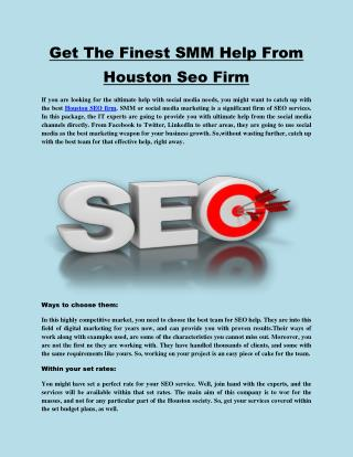 Get The Finest SMM Help From Houston Seo Firm