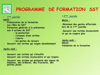 PROGRAMME  DE FORMATION  SST