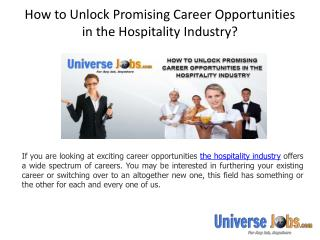 How to Unlock Promising Career Opportunities in the Hospitality Industry?