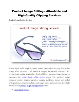 Product Image Editing - Affordable and High-Quality Clipping Services