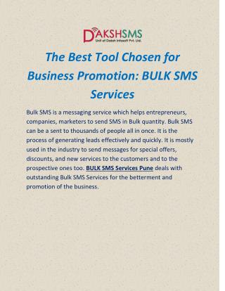 The Best Tool Chosen for Business Promotion: BULK SMS Services