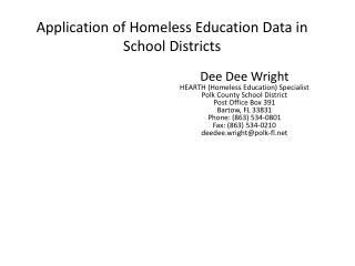 Application of Homeless Education Data in School Districts
