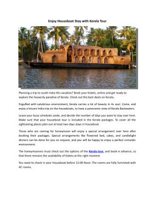 Enjoy Houseboat Stay with Kerala Tour