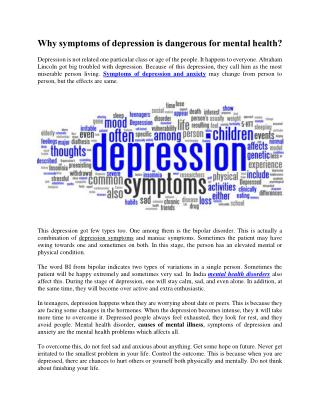 Why symptoms of depression is dangerous for mental health?