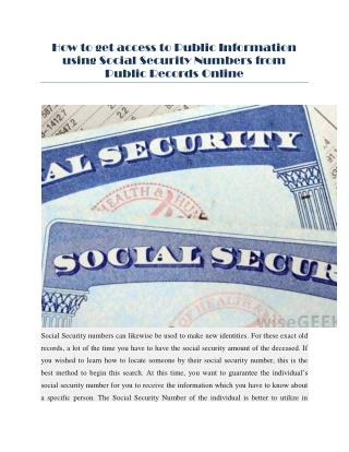 are social security numbers public information