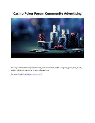 Casino Poker Forum Community Advertising