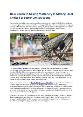 How Concrete Mixing Machinery Is Making Ideal Choice For Faster Constructions