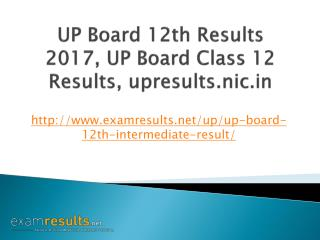 UP Board 12th Results 2017, UP Intermediate Results 2017