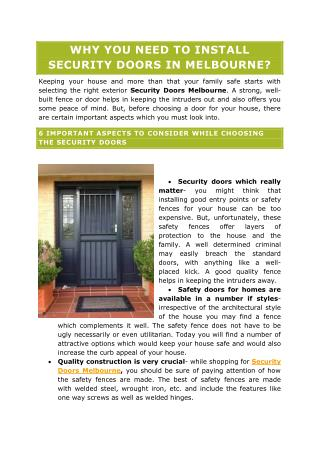 WHY YOU NEED TO INSTALL SECURITY DOORS IN MELBOURNE?