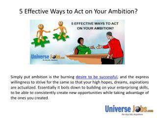 5 Effective Ways to Act on Your Ambition?