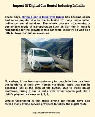 Hiring a car in India with driver