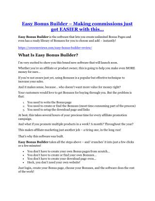 Easy Bonus Builder Review & HUGE $23800 Bonuses