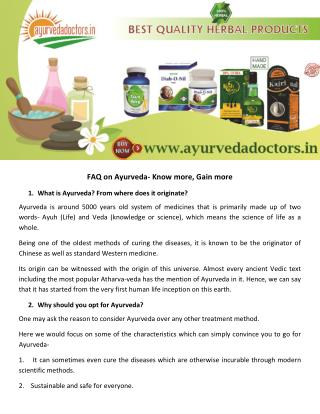 FAQ on Ayurveda- Know more, Gain more