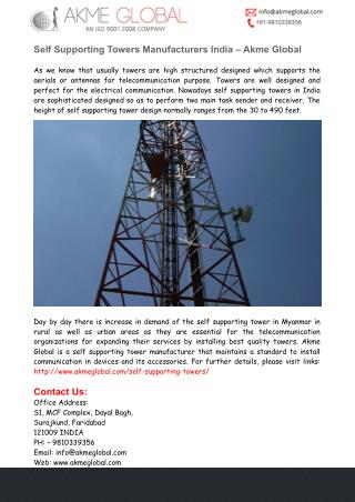 Self Supporting Towers India - Akme Global