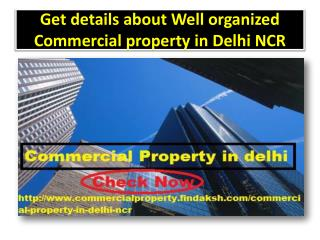 Get details about Well organized Commercial property in Delhi NCR