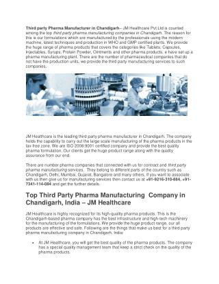Third Party Pharma Manufacturer in Chandigarh