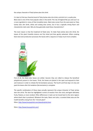 the unique character of Tasty lychee aloe slim drink
