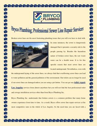 Bryco Plumbing; Professional Sewer Line Repair Services