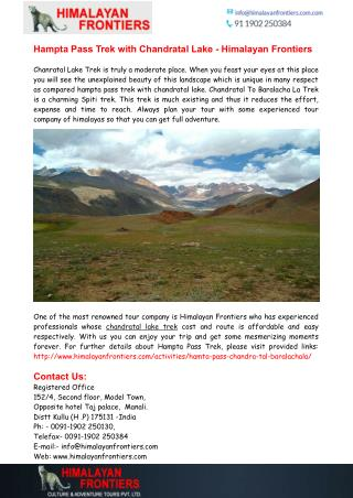 Hampta Pass Trek with Chandratal Lake - Himalayan Frontiers