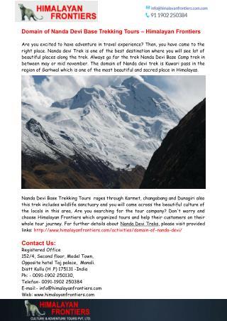 Nanda Devi Base Trekking Tours - Himalayan Frontiers