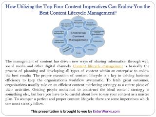 How Utilizing the Top Four Content Imperatives Can Endow You the Best Content Lifecycle Management?