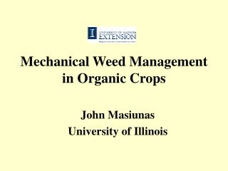 Mechanical Weed Management in Organic Crops