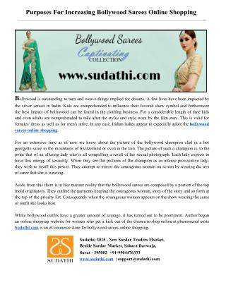 Purposes For Increasing Bollywood Sarees Online Shopping