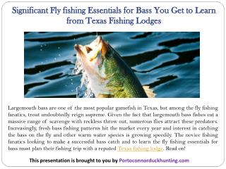 Significant Fly fishing Essentials for Bass You Get to Learn from Texas Fishing Lodges