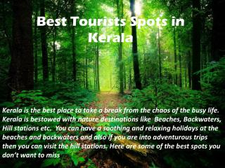 Best Tourists Spots in Kerala