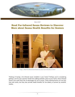 Read Far-Infrared Sauna Reviews to Discover More about Sauna Health Benefits for Seniors